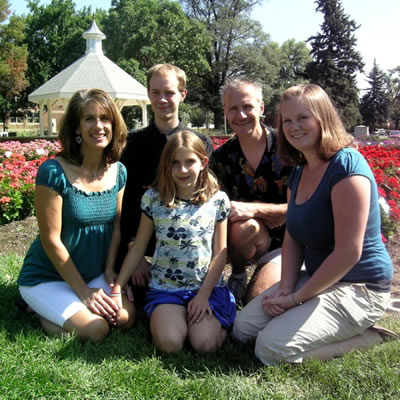 Diane, Brian, and all three children in the gardens at Colorado State University, circa 2009